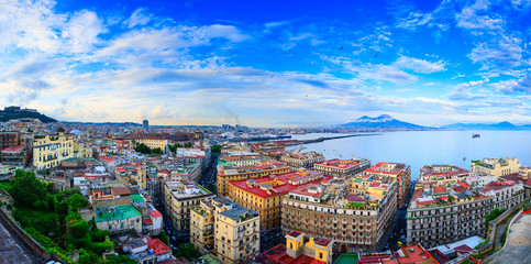 Fotobehang Napels Panoramic seascape of Naples, view of the port in the Gulf of Naples, Torre del Greco, and Mount Vesuvius. The province of Campania. Italy.