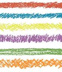 Set of colorful pastel chalk seamless art strokes. Wax crayon hand drawing design elements. Vector chalk lines.