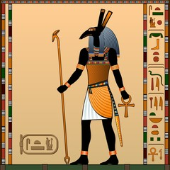 Religion of Ancient Egypt. Seth is the god of war, the sandstorms, the guardian of the god Ra. Ancient Egyptian god Seth in the guise of a man with a zoomorphic head. Vector illustration.