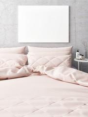 White poster, rose bed in hipster bedroom, 3d illustration
