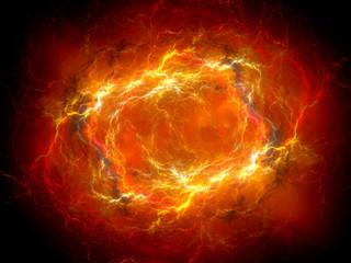 Fiery red glowing plasma lightning in space
