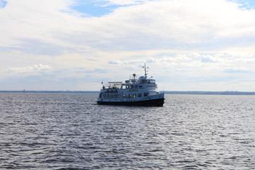 Russian pleasure boat in Gulf of Finland near Kronstadt, Russia