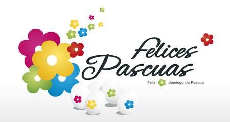 Happy Easter egg hunt color flower white background Spanish text