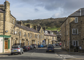 One of the main streets at Pateley Bridge in North Yorkshire, England, UK on a sunny day in early Spring.