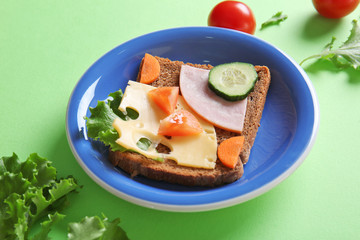 Plate with creative sandwich on green background