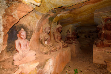 Statues of Phowintaung (Mountain of Isolated Solitary Meditation), a Buddhist cave complex, Yinmabin Township, Monywa District, Sagaing Region, Northern Burma (Myanmar)