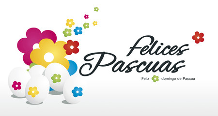 Happy Easter egg hunt color flowers white background Spanish text