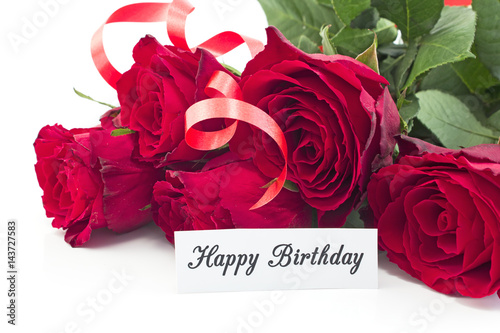 Happy Birthday Card With Bouquet Of Red Roses Stock Photo And
