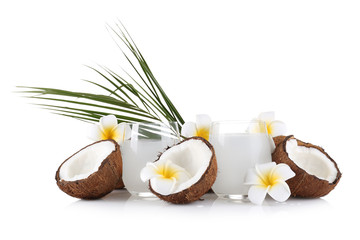 Beautiful composition with coconut water on white background