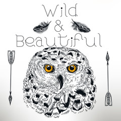 Fashion illustration with white owl with yellow eyes. Wild and beautiful
