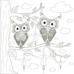Two owls sitting on branches of blooming tree, anti stress black and white vector illustration