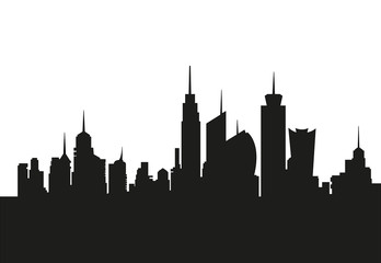 Skyline ideal city metropolis, cityscape silhouette, skyscrapers vector