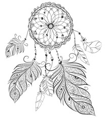dream catcher adult coloring book page.Bo-ho stile