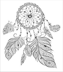dream catcher adult coloring book page.