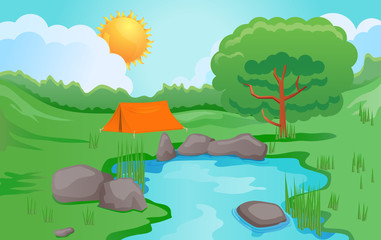 Camping outdoors vector image