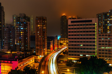 cityscape at night in Kowloon, Hong Kong
