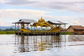 Inpawkhon village over the Inle Sap,a freshwater lake in the Nyaungshwe Township of Taunggyi District of Shan State, Myanmar