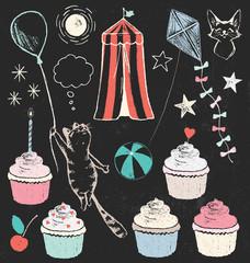 Party Decorations Cat Theme Chalk Drawing Design Elements Vector Set