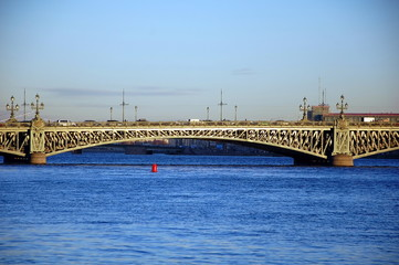 Trinity Bridge (Troitsky bridge) over the Neva river in Saint Petersburg, Russia
