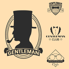 Vintage style design hipster gentleman vector illustration badge black silhouette element.