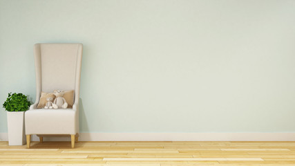 teddy bear in kid room or family room pastel style - 3d rendering