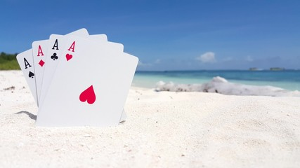 v01201 Maldives beautiful beach background white sandy tropical paradise island with blue sky sea water ocean 4k playing cards aces