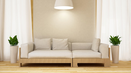 White and wood sofa with plant in white room-3D rendering