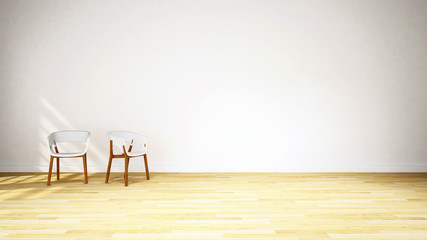 white chair on wood floor / 3D Rendering