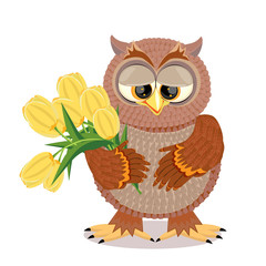 Brown owl with big eyes holding a bouquet of yellow tulips