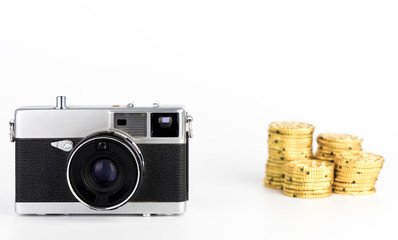 Making money from camera photography idea on white background