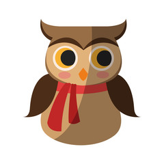 owl with scarf icon over white background. colorful design. vector illustration