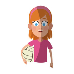 girl with volleyball ball, cartoon icon over white background. colorful design. vector illustration