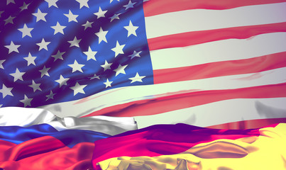 flags of america russia and germany. 3d rendering