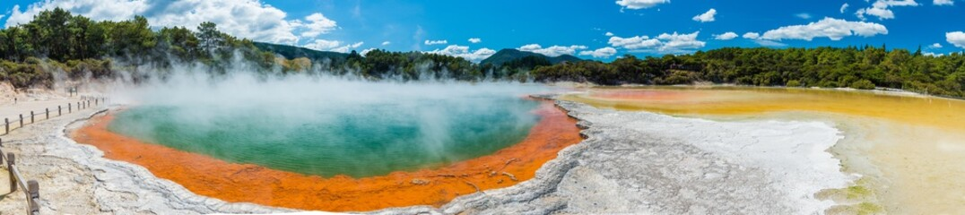 Water boiling in Champagne Pool - Wai-O-Tapu, New Zealand
