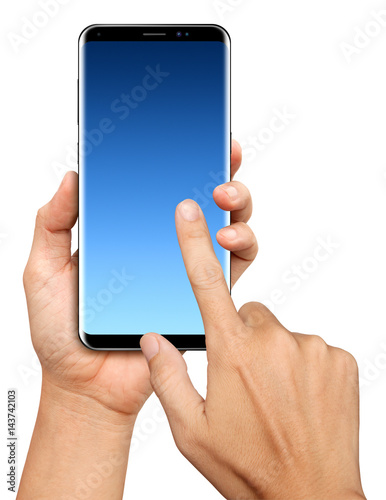 Hand holding and Touch on Black curved edge Smartphone on