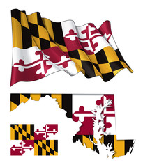 State of Maryland - Map Waving Flat Flag
