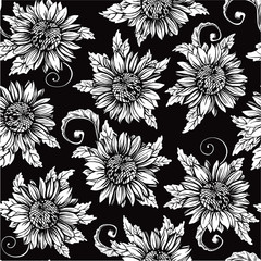 Vintage floral background. Vector ornate seamless  patterns with Sunflowers at engraving style