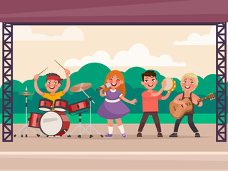 Children's music concert in the park. Vector illustration in cartoon style