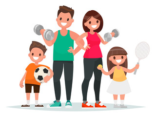Sport family. Dad, mother, son and daughter lead a healthy lifestyle and are engaged in fitness and various sports