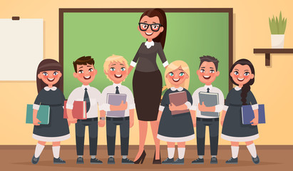 Teacher and pupils of primary school together in the classroom. Vector illustration in cartoon style