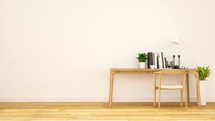 workspace in white room clean design-3D Rendering
