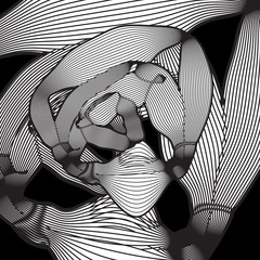 Abstract black and white background optical illusion