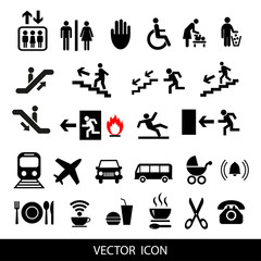 Vector set of international service signs.