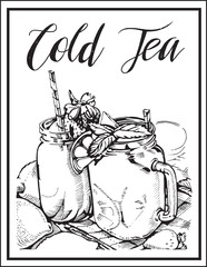 Vector image of a cocktail with a name.Cold tea.