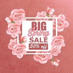 Sale banner design with roses and frame