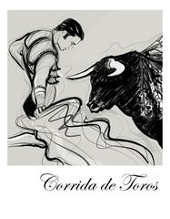 Bull charging a bullfighter