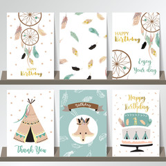 Card template collection for banners,Flyers,Placards with feather,fox,cake,tent india and arrow in boho style