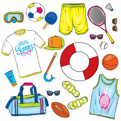 A set of summer clothes and attributes of beach retreat. Vector illustration for a postcard or a poster.
