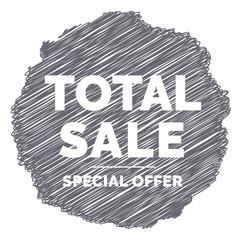 Total sale scribble ribbon. Grey
