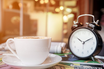 Retro alarm clock with coffee cup